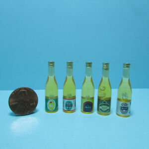 Dollhouse Miniature Set of 5 Large Beer Bottles Generic Branded