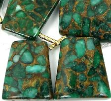 30mm Emerald green  in Quartz with Pyrite Ladder Trapezoid Pendant Beads