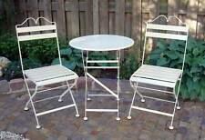 B-WARE Wunderschöner Eisen-Bistro-Tisch + 2 Stühle  creme hergestellt in Europa*