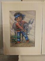 Vintage 3 Monte Van Horn Art Pieces Depicting Children Ethnic Native