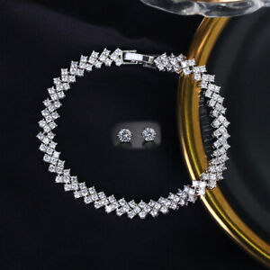 Womens White Gold Plated Sharp Earrings and Bracelet Set with Cubic Zirconia CZ