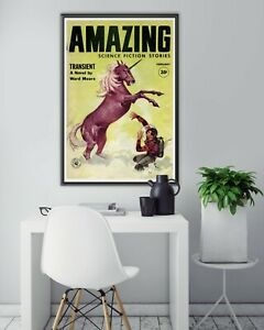 AMAZING Science Fiction Stories POSTER! (up to 24 x 36) - 1960 - Space Unicorn