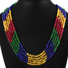 367.50 CTS EARTH MINED 3 LINE RUBY, EMERALD & SAPPHIRE ROUND BEADS NECKLACE