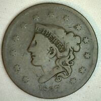1837 Coronet Large Cent US Copper Type Coin Very Good VG Variety N6 R7