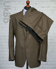 Fellini Tailored 3 Piece Single Breasted Suit Check Tweed Brown 52R 48W 31.5L