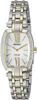 Seiko Women's Tressia Solar MOP Diamonds Two Tone Stainless Steel Watch SUP284