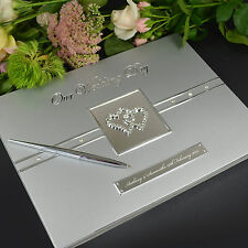Personalised Favours Wedding Bridal Guest Book and Pen - Custom Luxury Set