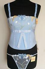 French Designer SIMONE PERELE LINGERIE LIGHT BLUE BUSTIER & G-STRING SET Size 3