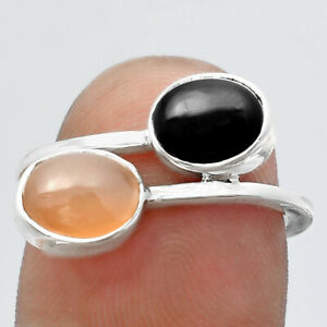 Natural Peach Moonstone & Black Onyx 925 Sterling Silver Ring s.7 Jewelry E681
