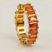 Rainbow ring thin line micro pave cz eternity 9 colors stack Flawless Simple