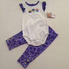 NWT Carter's 100% cotton 2 pc set purple cupcake outfit pants 9m