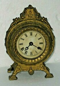 ANTIQUE E.N. WELCH BRONZE-FINISH 1870 FANCY DESK / MANTEL/ SHELF CLOCK WORKING