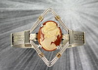 VINTAGE SHELL CAMEO BRACELET   SIZE 7 1/2   WIRE WRAPPED   STERLING SILVER