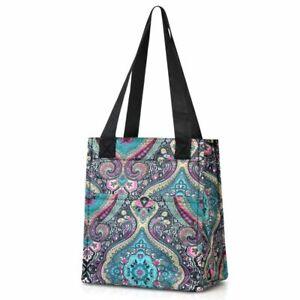 Women Lunch Picnic Handbag Insulated Leak Rresistant Tote Carry Bag Blue Paisley
