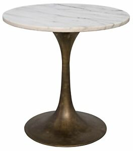 """20"""" T Set of 2 Side Table Night Stand Industrial Brass Base Solid Marble Top 59"""