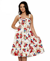 H&R London Darling ROSES and WILDFLOWERS SUNDRESS WHITE Retro 1950's