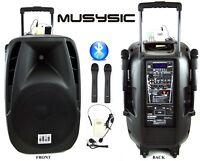 """1600W Professional 15"""" Speaker PA System 2 Wireless Mics Bluetooth Rechargeable"""