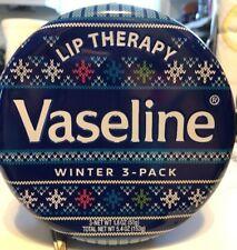 (1) Vaseline Lip Therapy Winter 3 Pack Collector's Tin 1.8 oz Original Aloe Rosy