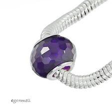 Sterling Silver Amethyst CZ Birthstone Charm Bead Fit European Bracelet #94052