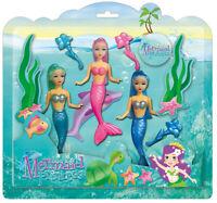 KANDYTOYS 3 Pieza Sirena Princesa Muñecas Set - TY0116 Océano Rosa Baño Toy Azul