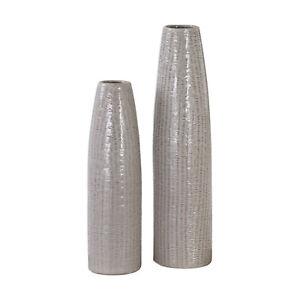 Tall Taupe Beige Vase Pair Set   Textured Ceramic Elegant Floor Table MidCentury