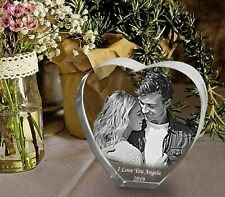 Personalised Photo Glass Block Custom Engraved Crystal Heart Shape Couples Gift