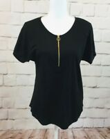 Nwt Michael Kors Women's Black Cotton Blend Dolman Short Sleeve Top Size S-$74