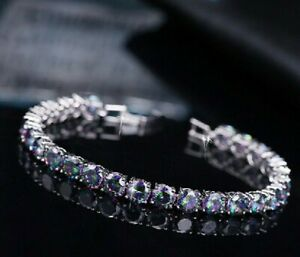 "925 Sterling Silver Mystic Rainbow Round Topaz 11ct Tennis Bracelet Approx 7"""