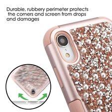 "For iPhone XR 6.1"" - Hybrid Armor Case Cover Rose Gold Diamond Bling Stud Pearls"