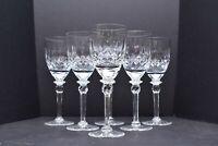 "Set of 6 Rogaska 7 3/4"" Tall Wine Goblets Glasses Stemware BEAUTIFUL RGS13"