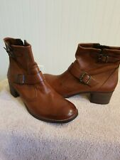 PAUL GREEN ROMEO BROWN LEATHER BOOTIES SIZE 10 US 7.5 UK    Store display