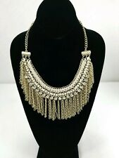 CHICOS Gold Tone Chain Beige Braided Thread STATEMENT NECKLACE Choker Crystals