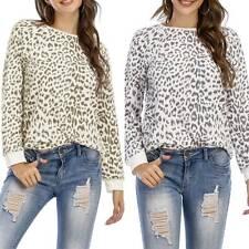 Womens Long Sleeve Leopard T Shirt Sweatshirt Ladies Blouses Casual Loose Tops
