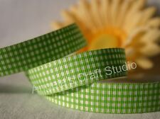 "1 Mtr GREEN / WHITE GINGHAM 16mm (5/8"") Grosgrain Ribbon - Hair Bow Sew Trim"