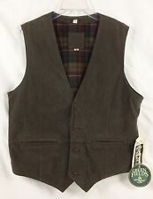 NWT Shafmaster Leather Green Fields Green Leather Button Vest Flannel Line Men M