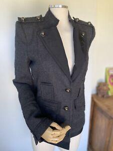 BCBG Max Azaria Womens military jacket gray blazer size small