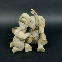 Vintage Elephant Figurine Mother and Baby Hugging Resin
