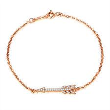 14K Rose Gold Over .925 Sterling Silver Sideways Arrow CZ Bracelet Bangle SS912