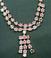 Vintage Pink Rhinestone Choker Necklace Unsigned Princess Christmas Holiday Gift