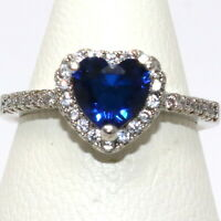 Heart Blue Sapphire Ring Women Wedding Jewelry Gift 14K White Gold Plated