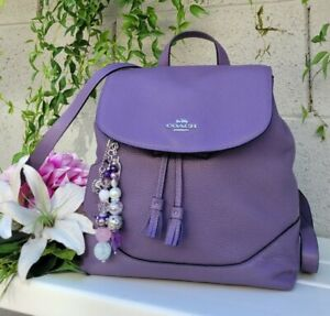 New COACH dusty lavender Pebble Leather Elle Backpack 72645 purse satchel bag