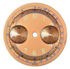 Original Landeron L48 Chronograph / Chrono 32 mm Wristwatch Dial, Swiss 1940s