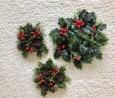 Vintage Christmas Decorations - Plastic Candle Wreaths - Set of 3