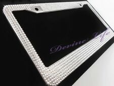 Crystal Rhinestone License Plate Frame + Screw Cap Covers, Car Bling Accessory