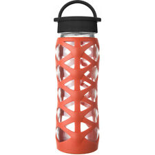 Lifefactory 22oz Glass Water Bottle with Helix Silicone Sleeve and Classic Cap