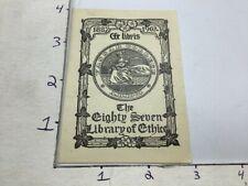 reprint BOOKPLATE: The EIGHTY SEVEN Library of ETHICS - VASSAR COLLEGE (reprint)