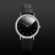 ESS Mens Watch Quartz Black Dial Leather Strap Time Analog Elegant Design Luxury