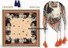 "Laurel Burch SCARF Wild Cats Wrap 35"" Sq Tassels Black White Orange New"