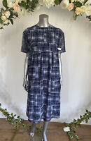 Wednesday's Girl Smock Dress Size 8 10 & 18 Blue Pattern Midi Relaxed Fit HG95