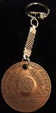 Alcoholics Anonymous AA 20 Year Bronze  Medallion Keychain Token coin chip Sober